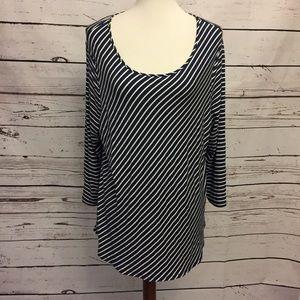 Chico's Sz 3 tunic blouse black stripes